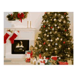 Carne asada del árbol de navidad de la chimenea postales