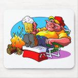 Carne asada del cerdo del dibujo animado tapete de ratón