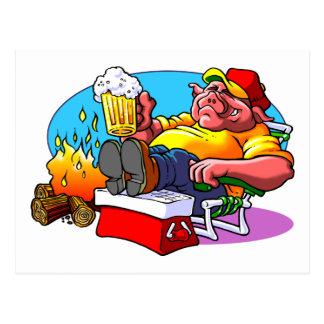 Carne asada del cerdo del dibujo animado postal