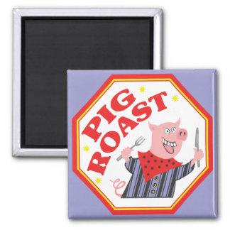 Carne asada del cerdo imán cuadrado