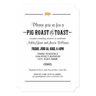 Carne asada y tostada del cerdo de la ducha el | invitación 12,7 x 17,8 cm