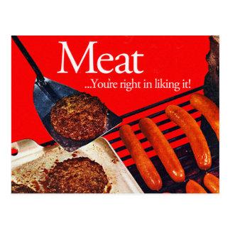 Carne de la hamburguesa del kitsch del vintage postal