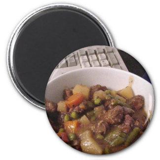 Carne de vaca del guisado que cocina la comida de  imán redondo 5 cm