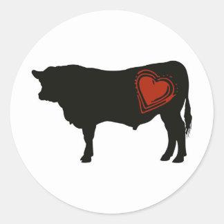 Carne de vaca negra de Angus del amor Pegatina Redonda