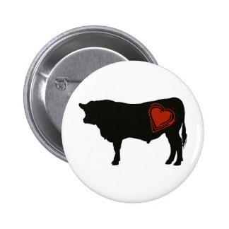 Carne de vaca negra de Angus del amor Pin Redondo 5 Cm