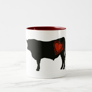 Carne de vaca negra de Angus del amor Taza Dos Tonos