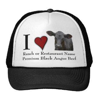 Carne de vaca negra de Angus - diseño del amor de Gorro