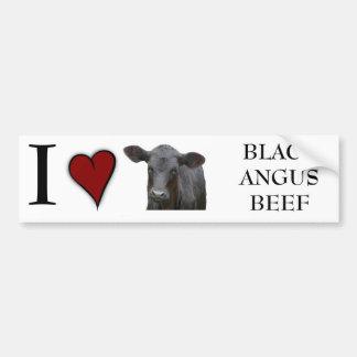Carne de vaca negra de Angus - diseño del corazón  Etiqueta De Parachoque