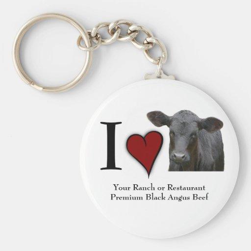Carne de vaca negra de Angus - diseño del corazón  Llavero Personalizado
