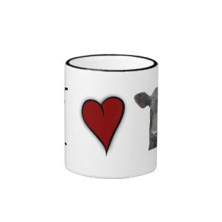 Carne de vaca negra de Angus - diseño del corazón  Taza De Café
