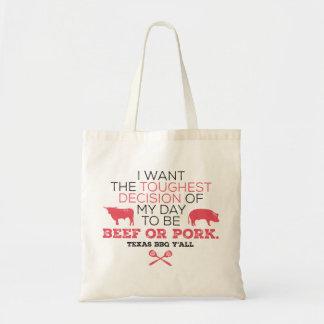 ¿Carne de vaca o cerdo? Tote del Bbq de Tejas Bolsa Tela Barata
