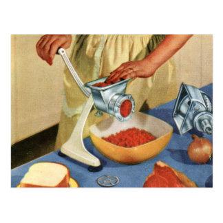 Carne de vaca retra de la máquina para picar carne postales