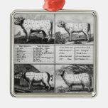 Carne de vaca, ternera, cerdo, y cortes del adorno navideño cuadrado de metal
