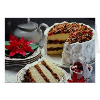 Carne picado blanco, flores blancas del pastel de  felicitacion