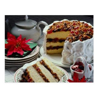 Carne picado blanco, flores blancas del pastel de  tarjetas postales