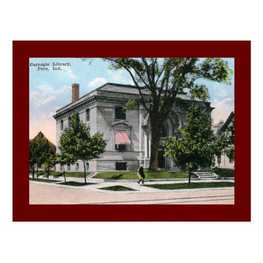 Carnegie Library, Peru, IN Vintage Postcard