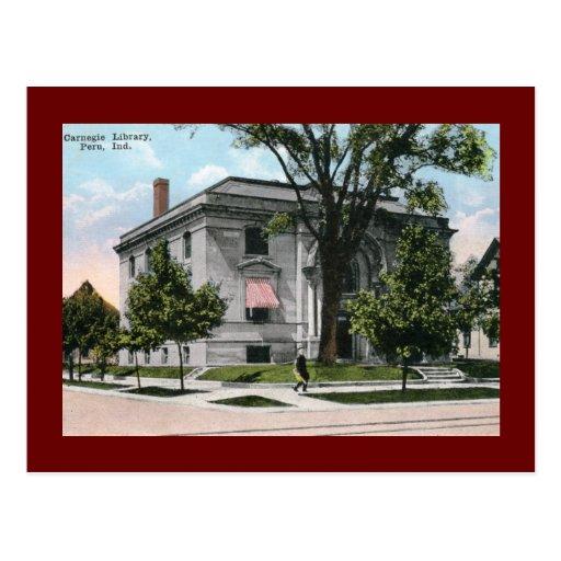 Carnegie Library, Peru, IN Vintage Postcards