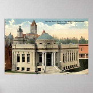 Carnegie Library San Bernardino CA Vintage c1915 print