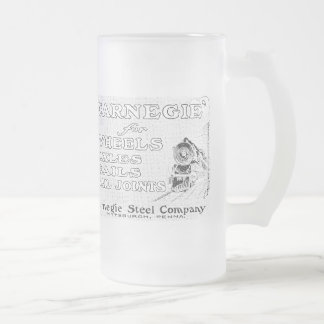 Carnegie Steel for Wheels Rails and Rail Joints Frosted Glass Beer Mug