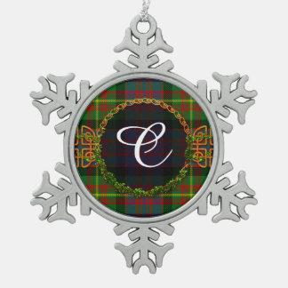 Carnegie Tartan And Monogram Snowflake Pewter Christmas Ornament