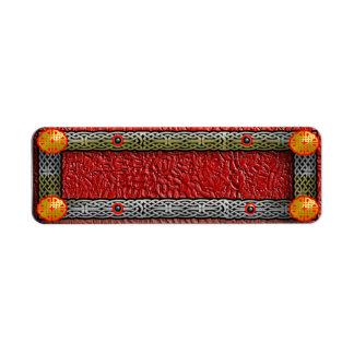 carnelian del knotwork etiquetas de remite