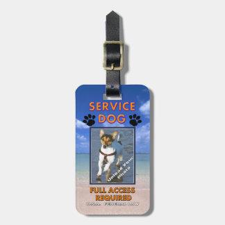 Carnet con foto del perro del servicio de la playa etiquetas maleta