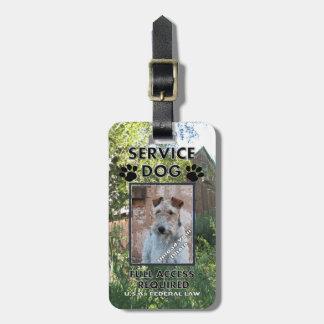 Carnet con foto del perro del servicio del granero etiquetas para equipaje