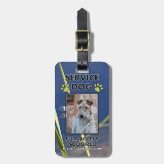 Carnet con foto verde del perro del servicio de la etiquetas bolsa