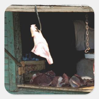 carnicería pegatina cuadrada