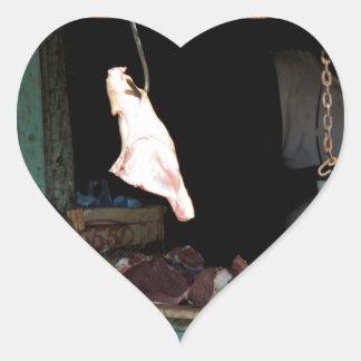 carnicería pegatina en forma de corazón