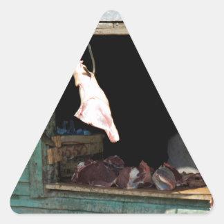 carnicería pegatina triangular