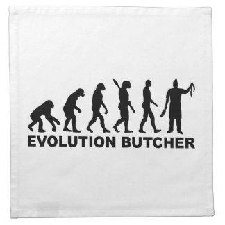 Carnicero de la evolución servilletas imprimidas