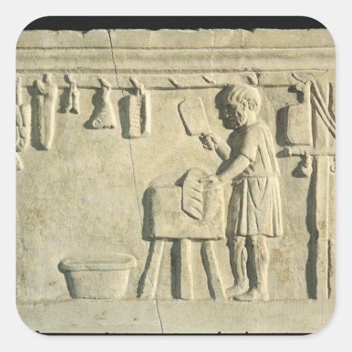 Carnicero romano, alivio calcomanías cuadradases
