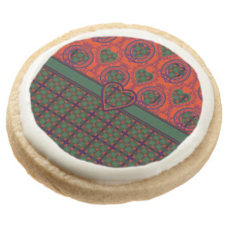 Carnie clan Plaid Scottish kilt tartan Round Shortbread Cookie