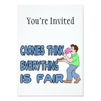 Carnies piensa que todo es justo invitación 12,7 x 17,8 cm