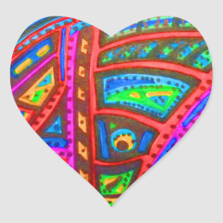 CARNIVAL ABSTRACT HEART STICKER