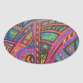 CARNIVAL ABSTRACT OVAL STICKER