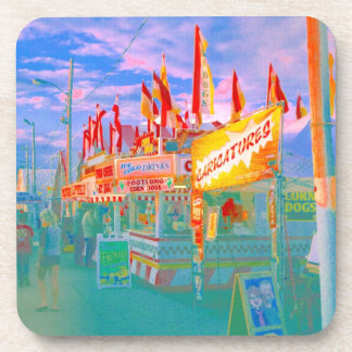 Carnival Beach Food Concessions Flags Vacation Art Coaster