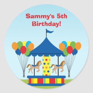 Carnival Birthday Party Favor Sticker
