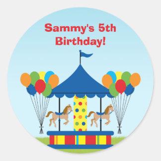 Carnival Birthday Party Favor Sticker