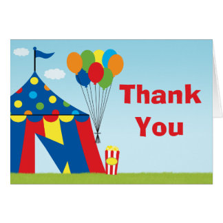 Carnival Birthday Party Thank You Greeting Cards