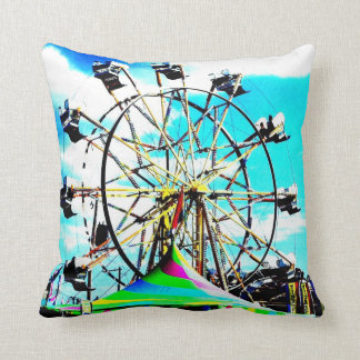 Carnival Carousel Horse Ferris Wheel Pop Art Photo Throw Pillow