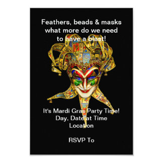 Carnival Character Mardi Gras Party Invitations