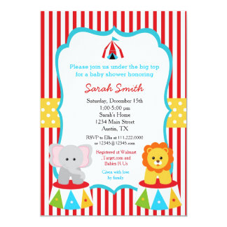 Carnival Circus Baby Shower Invitations