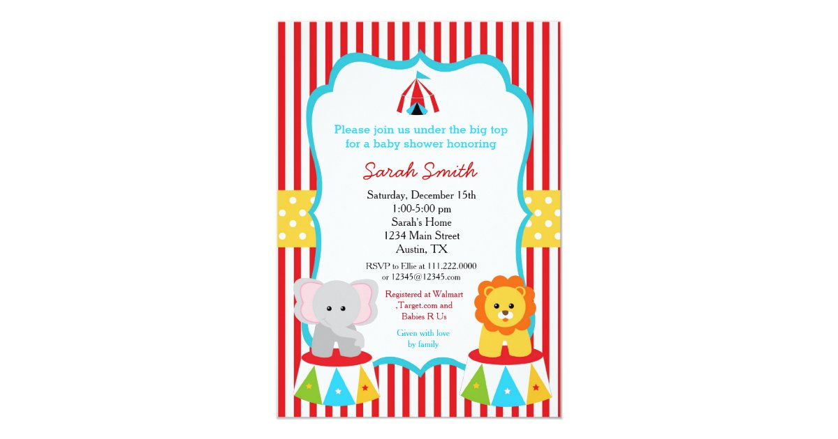 Carnival Circus Baby Shower Invitations | Zazzle.com