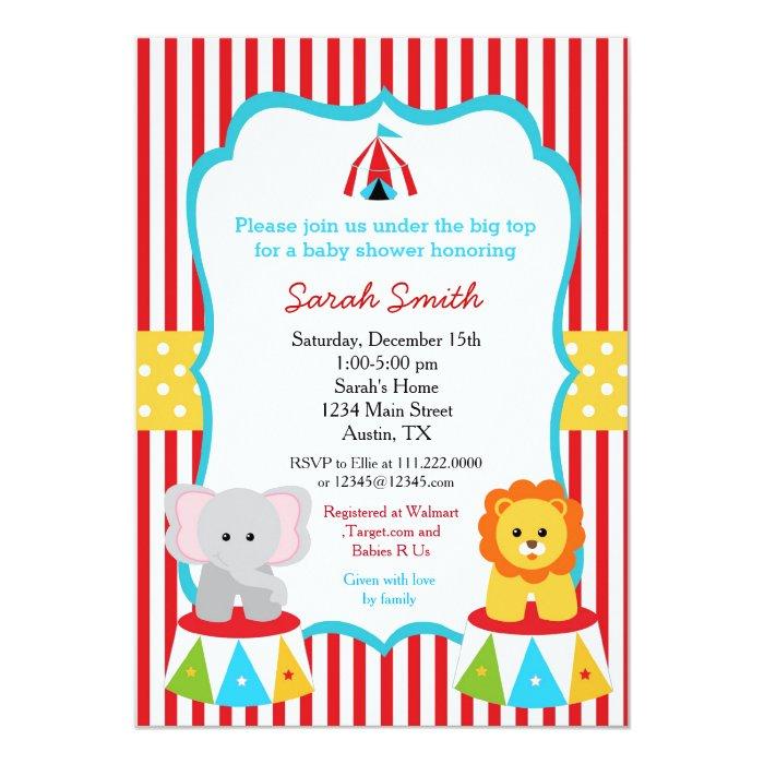 carnival circus baby shower invitations zazzle
