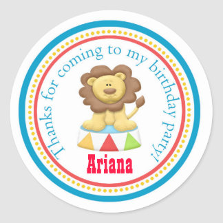 Carnival Circus Birthday Party Favor Sticker