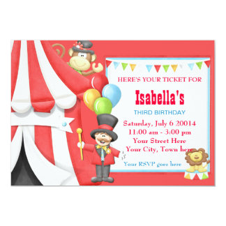 circus invitations  announcements  zazzle, Birthday invitations