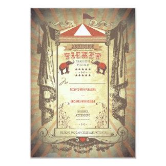 Carnival Circus Elephants Wedding RSVP cards