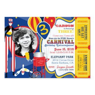 Carnival Circus Juggling Stilt Walkers Birthday 5x7 Paper Invitation Card